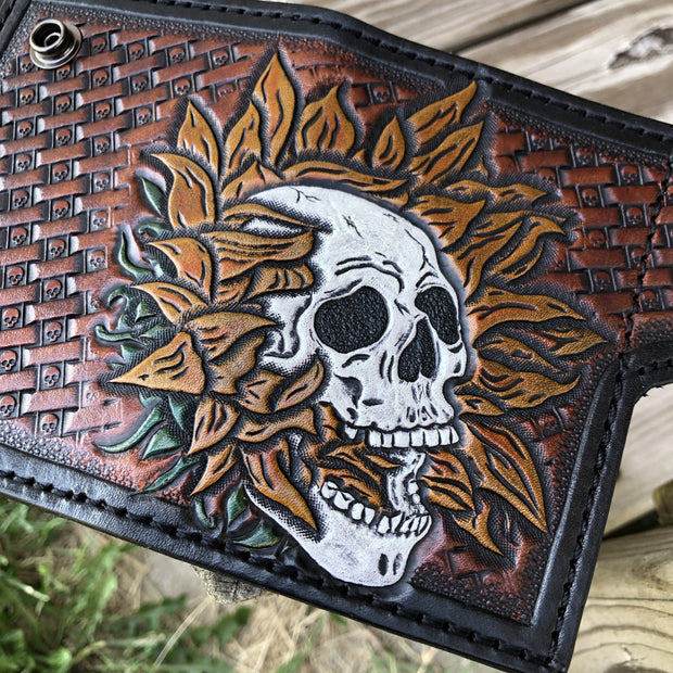 Sunflower Skull Hand Tooled Leather Snap Card Wallet - Nerd Culture Leather