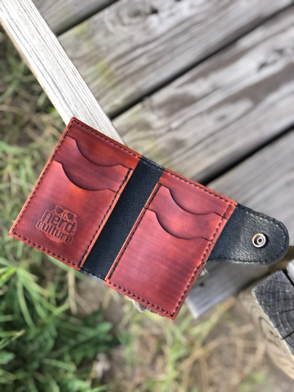 ¡Borracho! Hand Tooled Leather Snap Card Wallet - Nerd Culture Leather