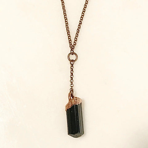 Black Tourmaline Drop Necklace