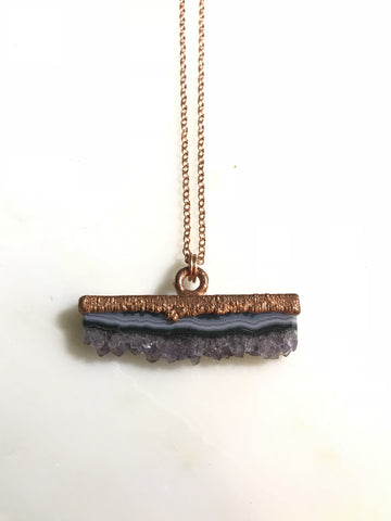 Agate & Amethyst Druzy Necklace