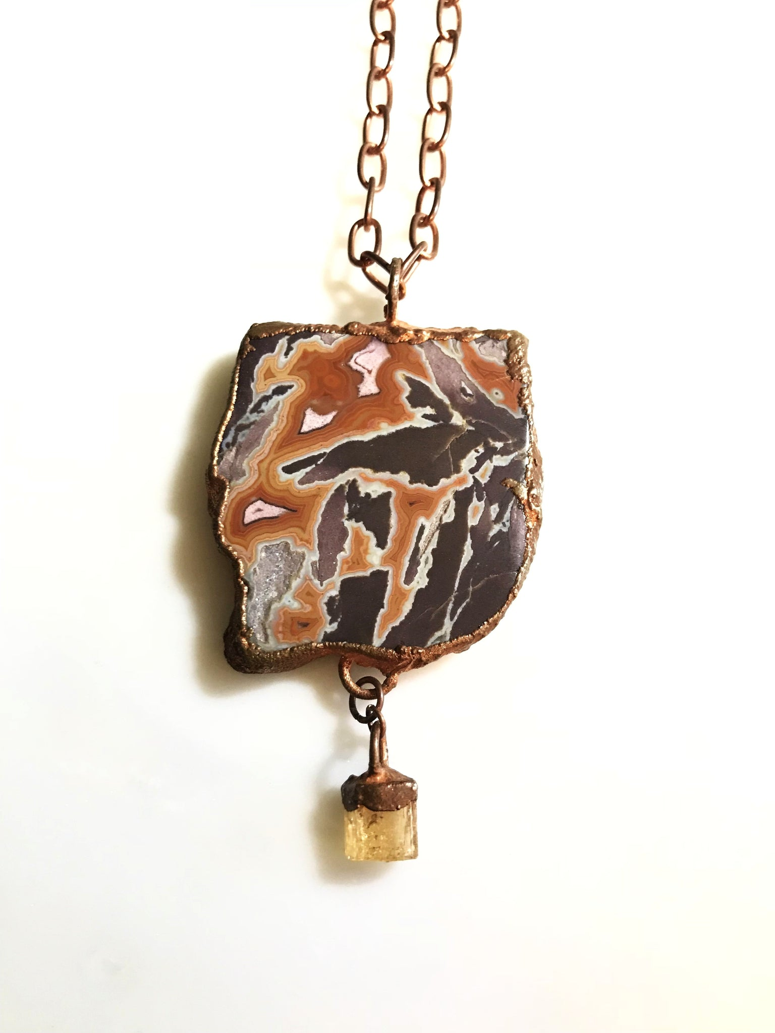 Dryhead Agate with Citrine Drop Necklace