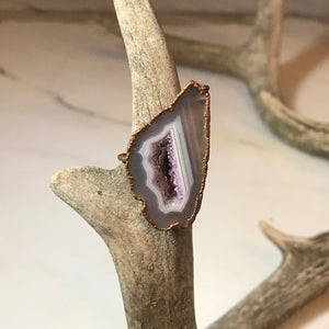 Lavender Geode Slice Ring
