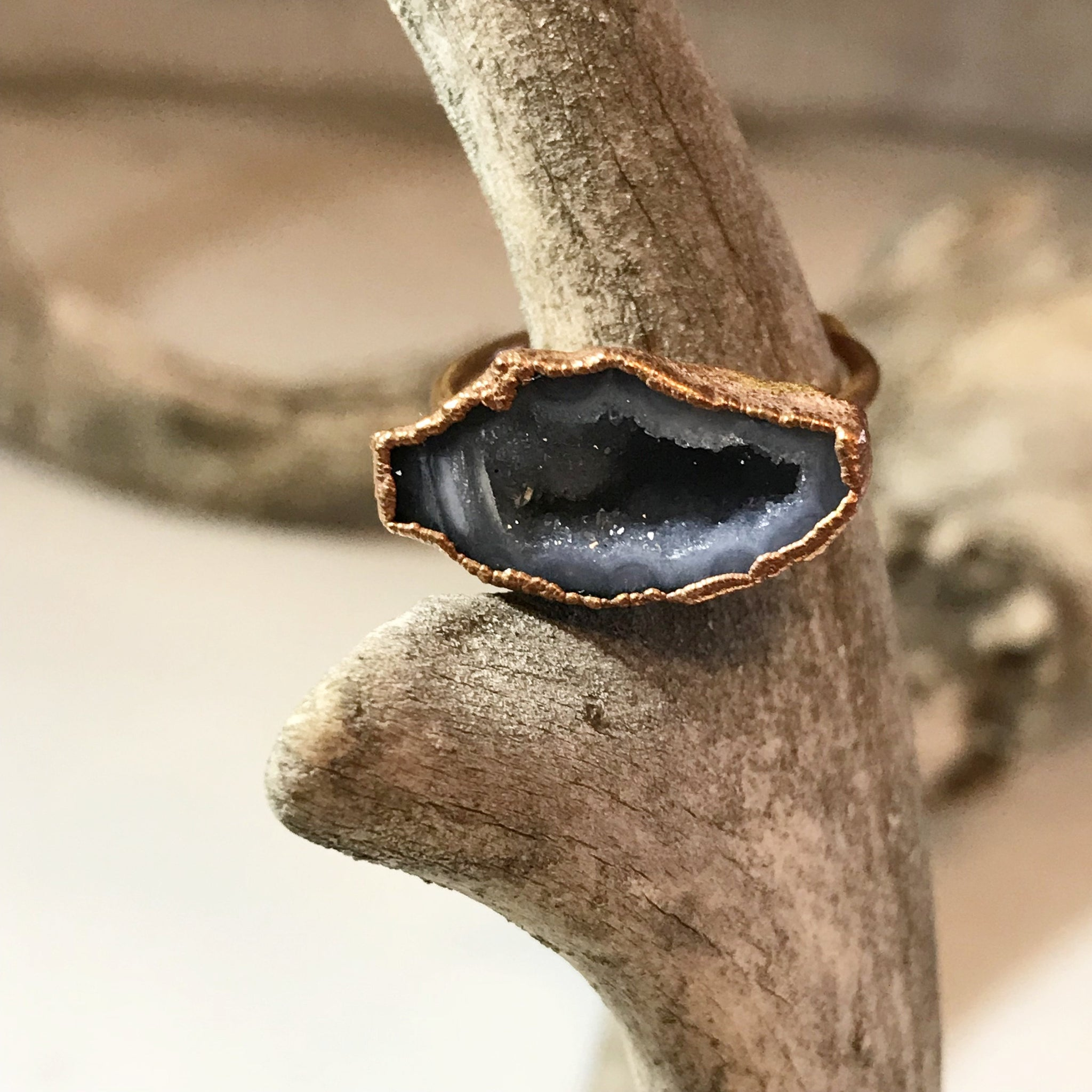 Small Geode Slice Ring - Gray