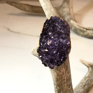 Large Amethyst Druzy Ring