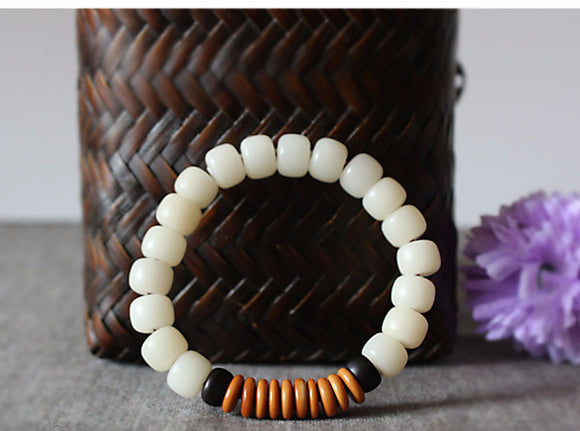 All Natural White and Dark Coconut Shell With Olive Nut Bracelet-bracelets-Goddess Jewelry