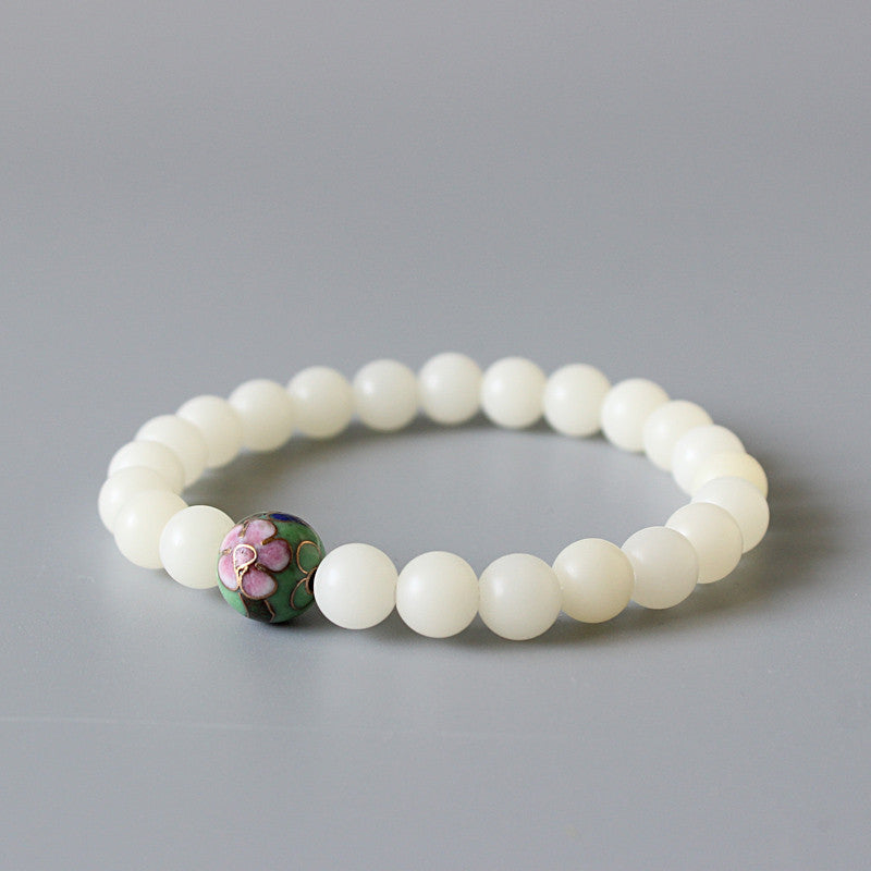 All Natural White Bodhi Cloisonne Bracelet-bracelets-Goddess Jewelry
