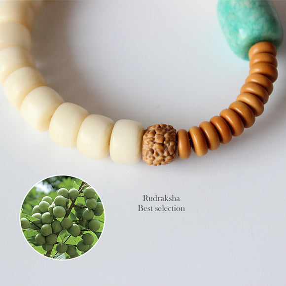 Amazonite Natural Stone and Rudraksha Beads Bracelet-bracelets-Goddess Jewelry