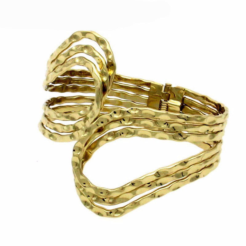 Ancient Frolic Designer Style Hammered Goldtone Cuff