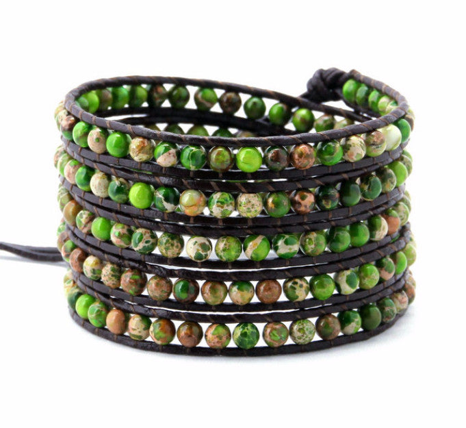 Anguilla Green Natural Stones Wrap Leather-wraps-Goddess Jewelry