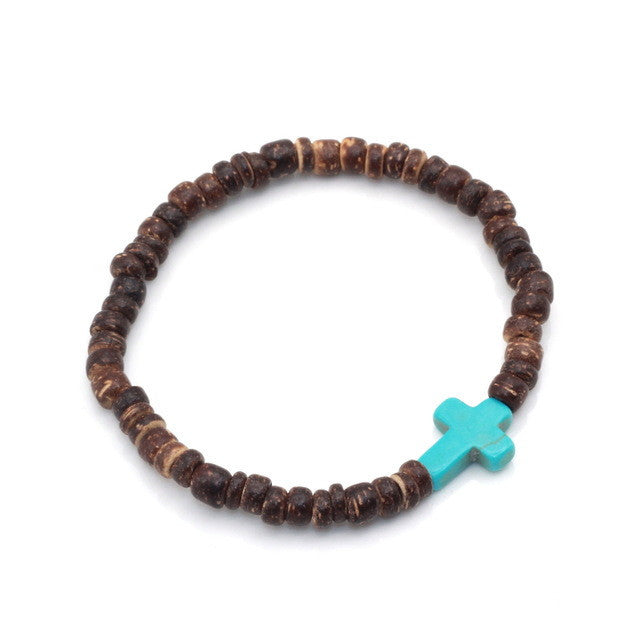 Brown Coconut Beads with Red and Blue Cross Bracelet-bracelets-Goddess Jewelry