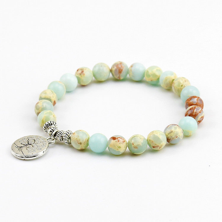 Chakra Blue Sea Stone Bead with Tree of Life Pendent Bracelet
