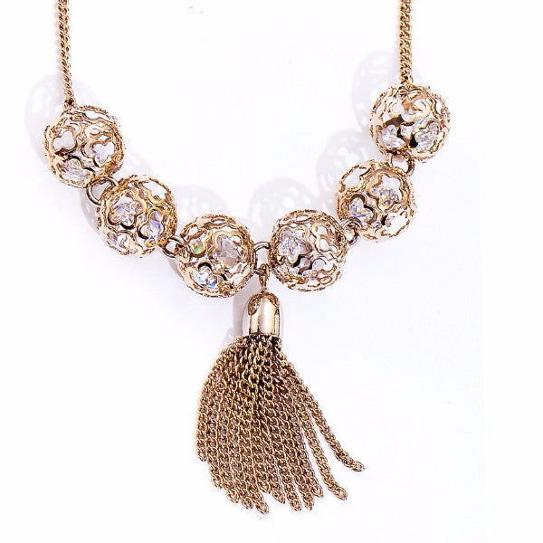 City Sidewalk Coffee Gold Color Tassel Chain Necklace-Necklace-Goddess Jewelry