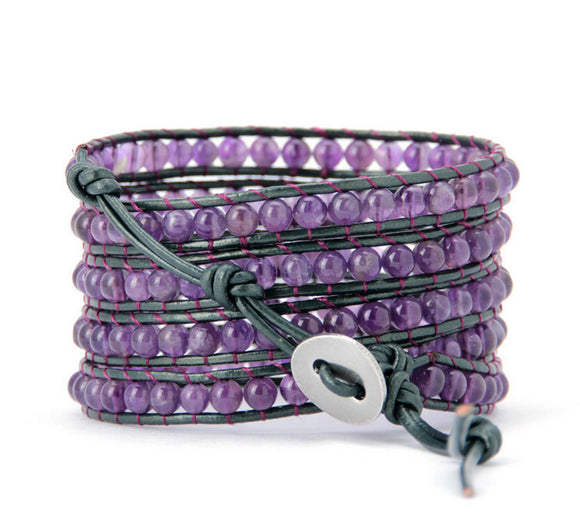Deep Lilac Crystal Leather Wrap-wraps-Goddess Jewelry