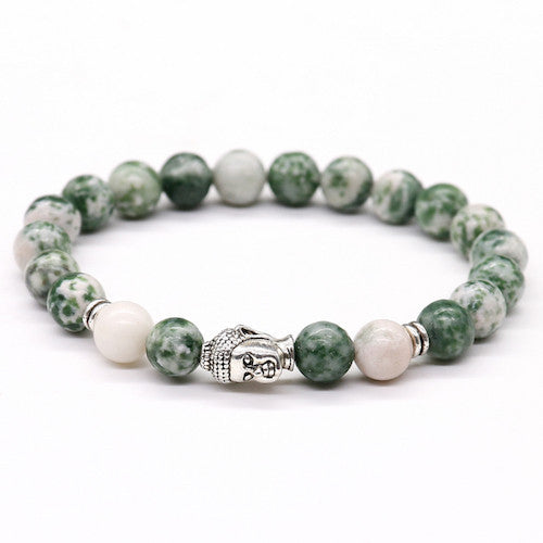 Gray Stone with Strawberry Crystal Yoga OM Bracelet-bracelets-Goddess Jewelry