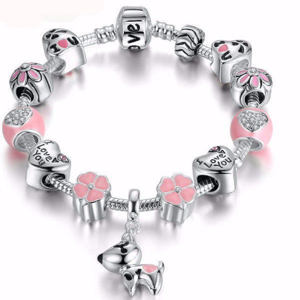 My Puppy Goes with Me Everywhere Flower Heart Charm Bracelet
