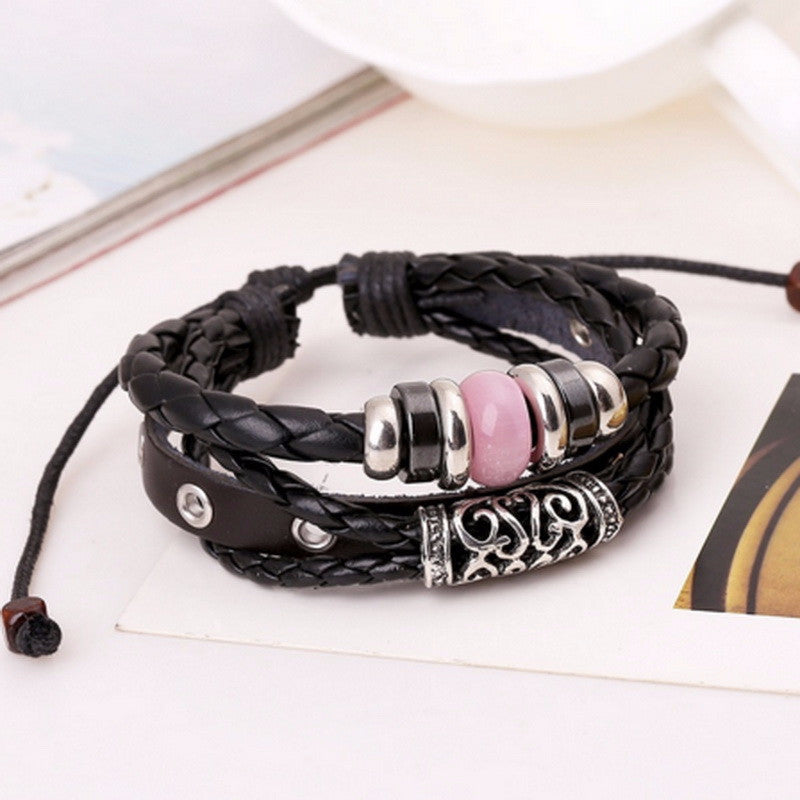 Nautical Braided Leather Stack Stainless Steel
