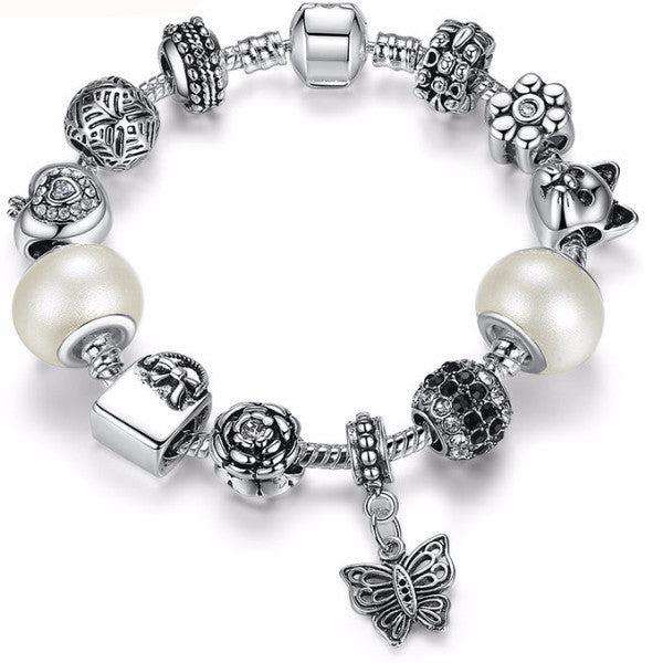 Oh the Places You'll Go White Glass Bead Butterfly Charm Bracelet