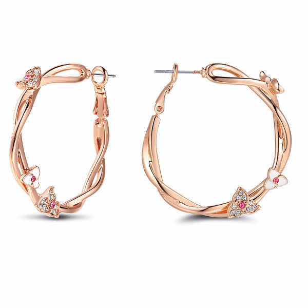 Pretty Glam Flower Twisted Rose Gold Color Hoop Earrings-earrings-Goddess Jewelry