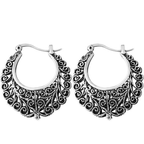 Dance on the Shore Antique Flower Silvertone Earrings