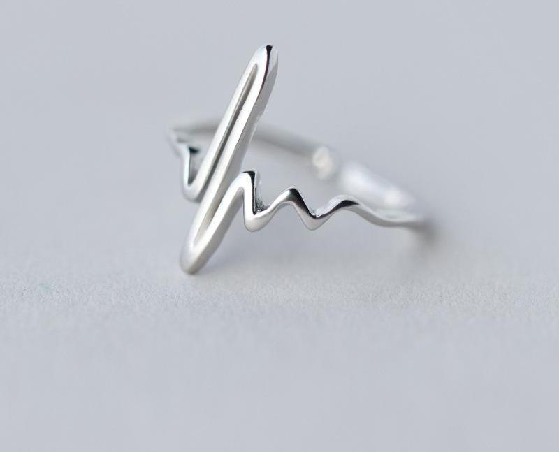 Heartbeat Lifeline Pulse Ring Adjustable  925 Sterling SIlver