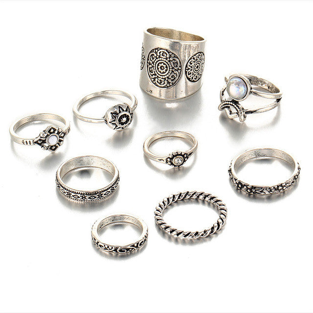 Stunning Sun and Moon 9 pc Vintage Silver Color Ring Set