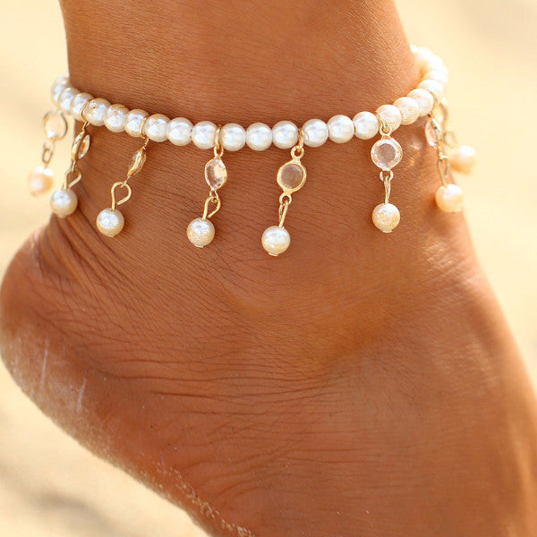 White Wave Crystal Summer Pendant Beach Anklet