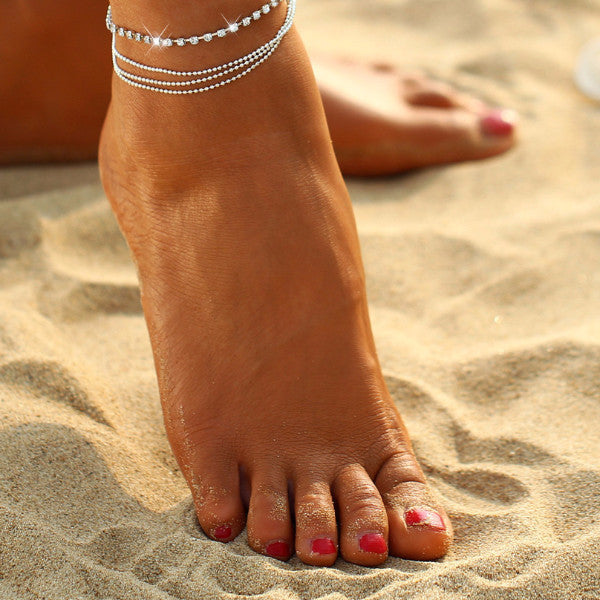 Sparkle Multilayer Summer Crystal Anklet
