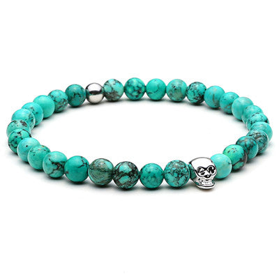 Natural Bead for Men Urban Gods with Skull Charms