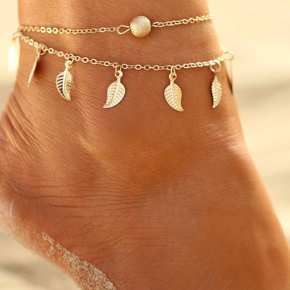 Infinity Boho Beach White Beads Silver Color Anklet
