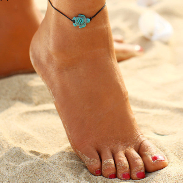 Ocean Tortoise Pendant Turtle Leather Anklet