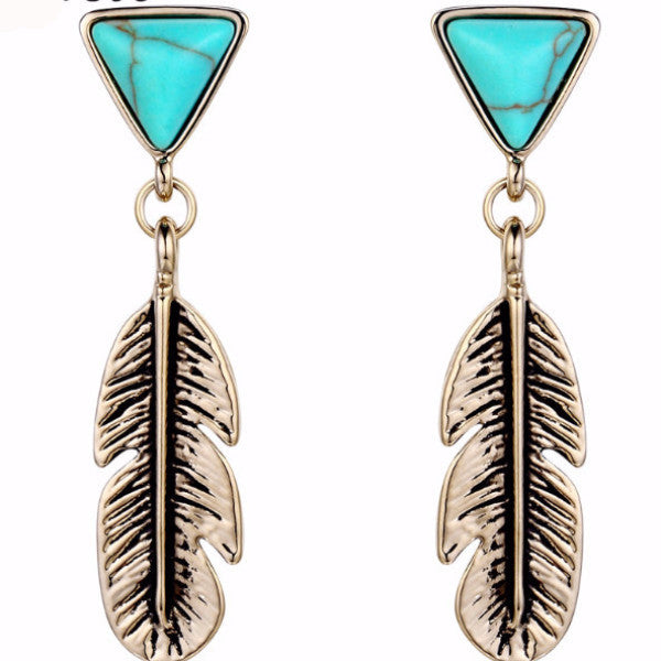See You in My Dreams Champagne Gold Color Feather Drop Earrings