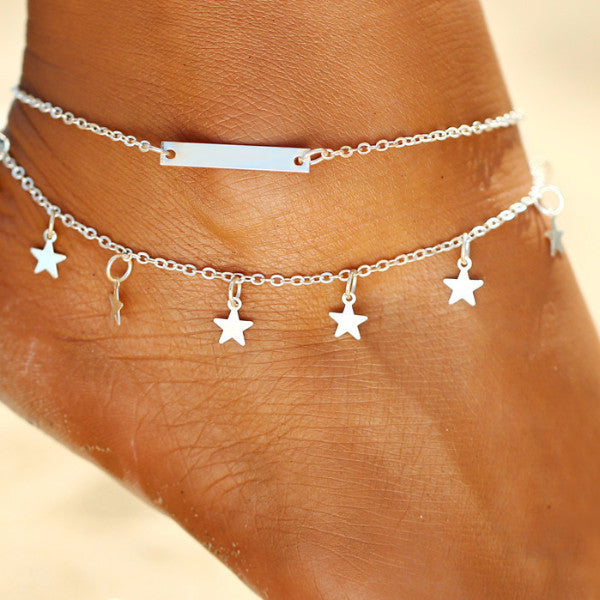 Beach Boho Multilayer Star Pendant Cute Anklet