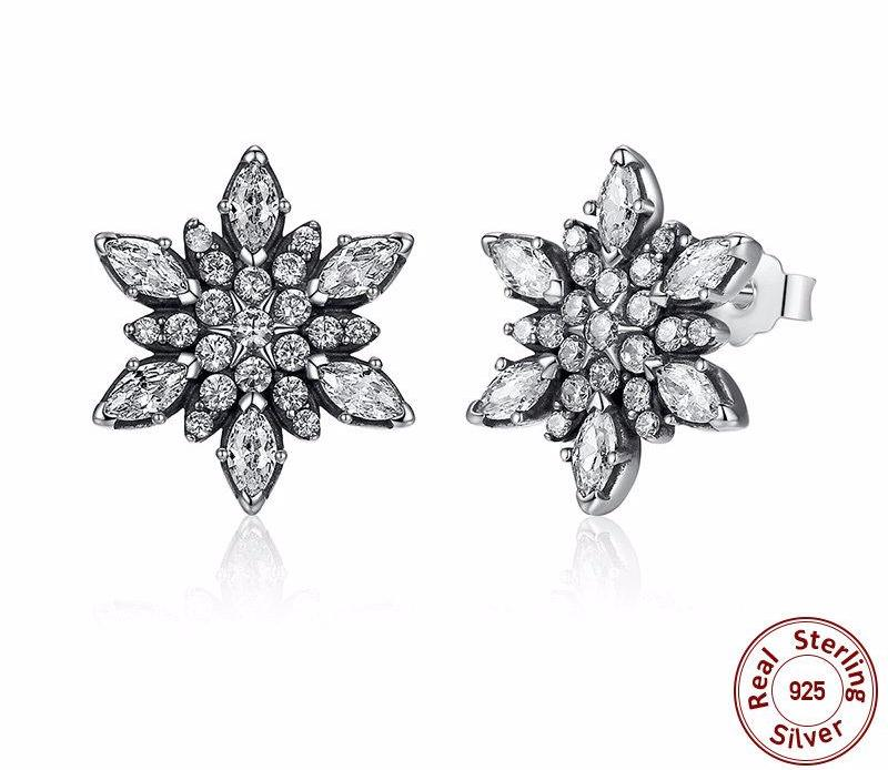 Sparkle Crystalize Snowflake Clear Crystals Stud Earrings