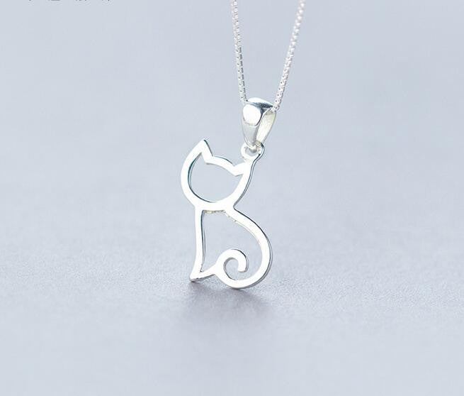 "Kitten Cat Pendant 18"" Sterling Silver"