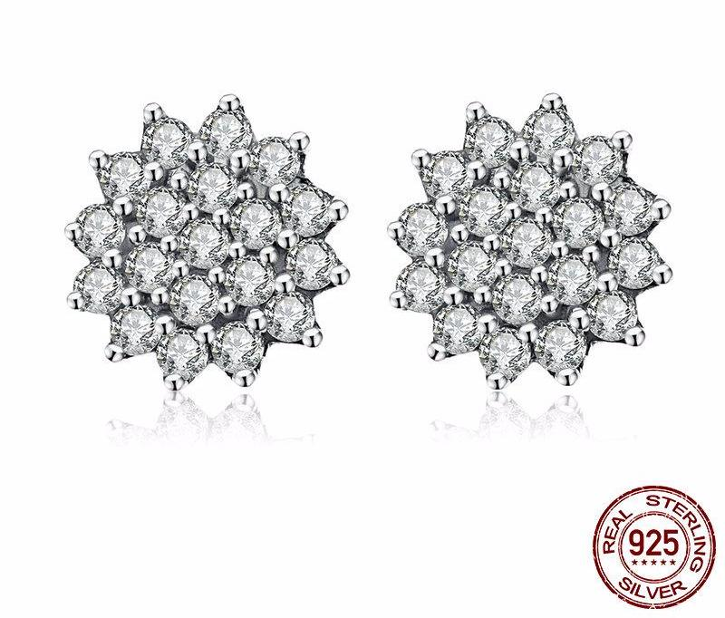 Dazzling CZ Snowflake Stud Earrings