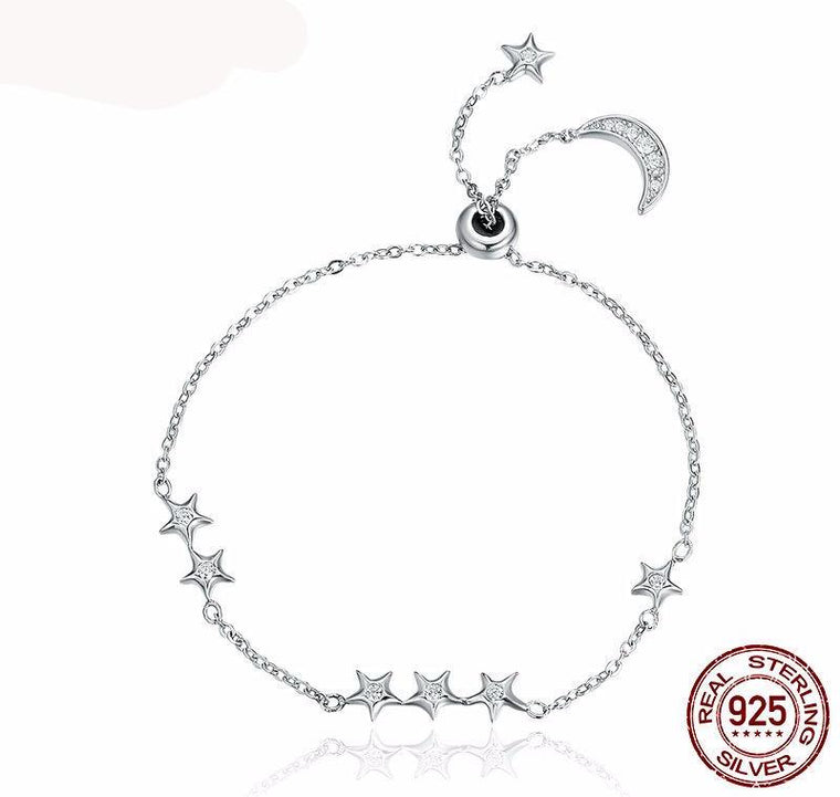 Sweet Whisper of Moon & Star Clear CZ Link Luxury Bracelet