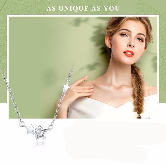Double Sparkling CZ Star Women Pendant Necklace