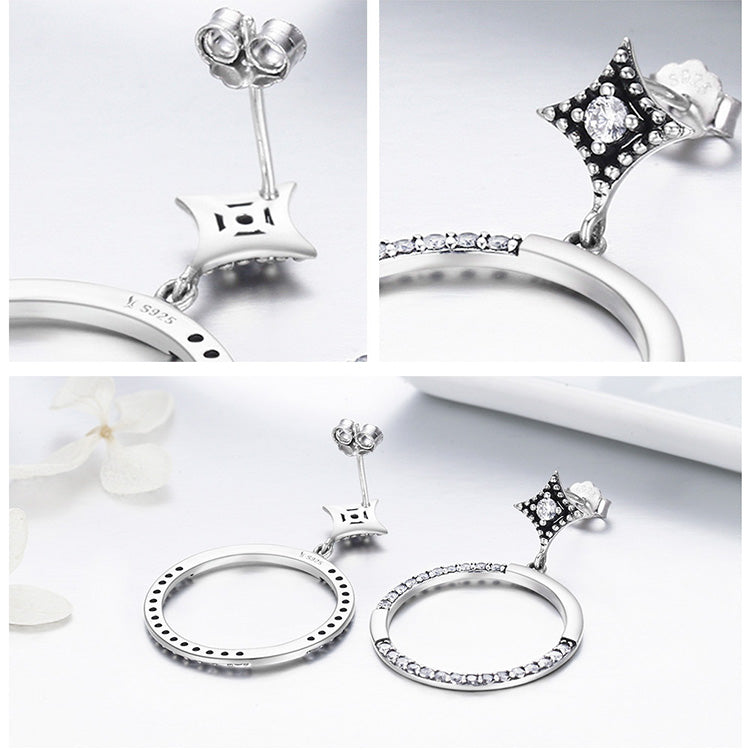 Brightest Star Sparking Circle CZ Drop Earrings