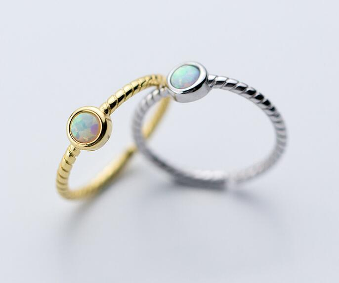 1PC Colorful Opal Stone Handmade Ring Twisted