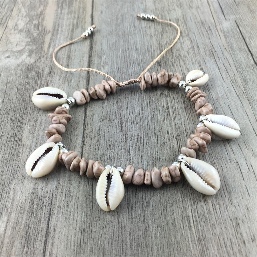 Sea Shell Charm Natural Gemstone Anklet