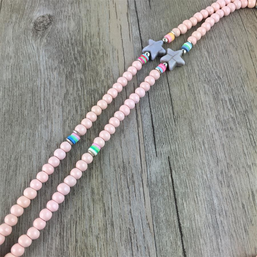 Pink Stone Beads Shell Flower Necklace