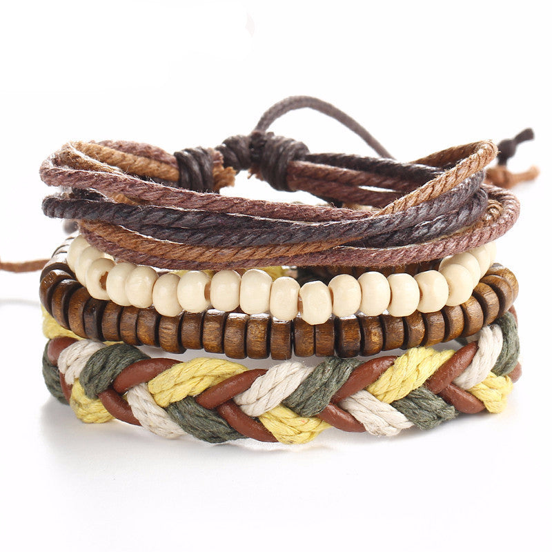 Little Kahuna Stacks Brown Leather Natural Beads Bracelet