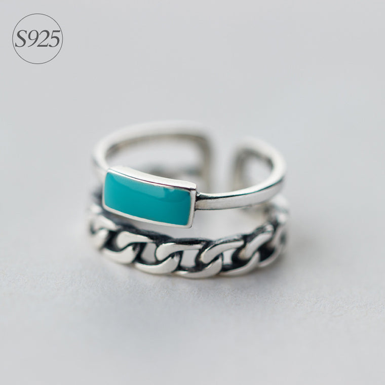Ocean Blue Stone Multi Ring Sterling Silver