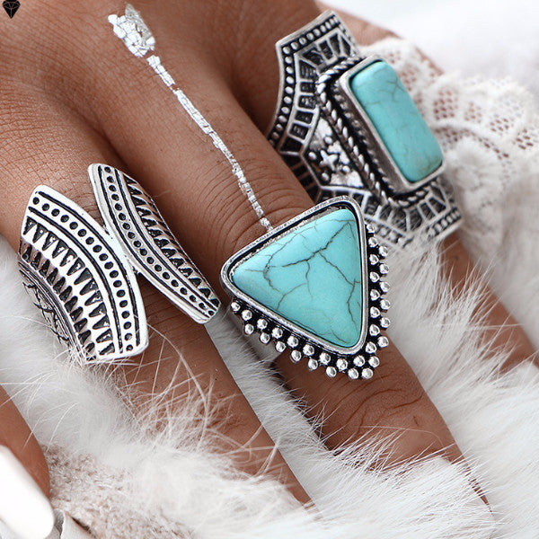 Stunning Vintage Large Stone Midi Finger Ring Set