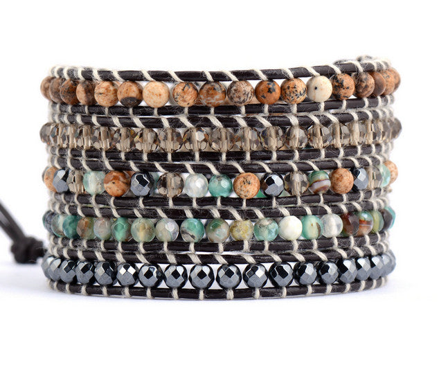 Sandy Mixed Natural Stones 5 Strands Leather Wrap-wraps-Goddess Jewelry