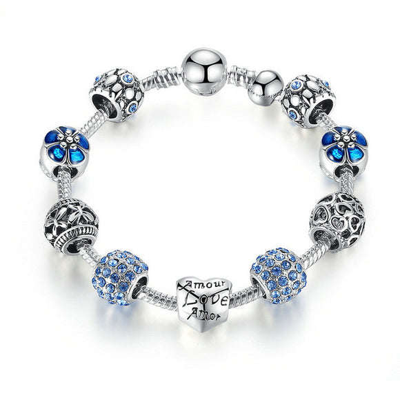Sauntering Saturday Amour Love and Flower Crystal Bead Charm Bracelet