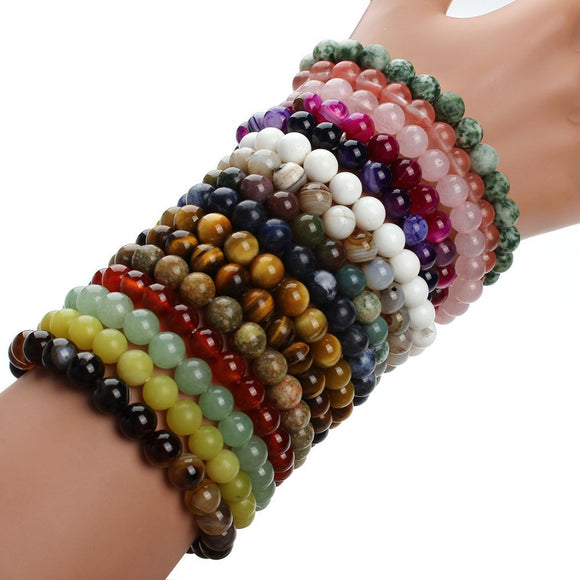 Shakti Chakra Natural Stone Stackable Yoga Bracelets-bracelets-Goddess Jewelry