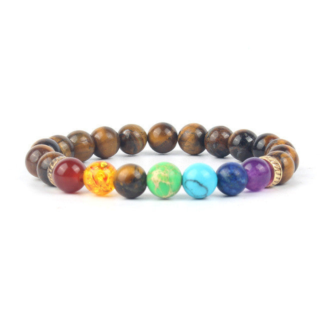 Shakti Chakra Tiger Eye Natural Stone Yoga Meditation-bracelets-Goddess Jewelry