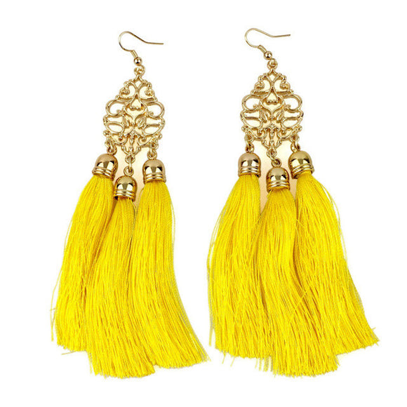 Shimmering Waves Long Tassel Earrings