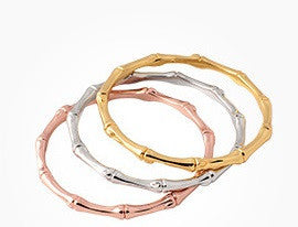 Beautiful Gold Rose Gold Plated Bamboo Bangle Stacks-bangle-Goddess Jewelry